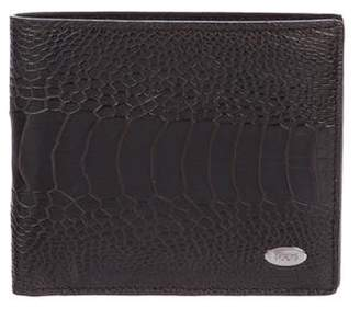 Tod's Ostrich Leather Bifold Wallet