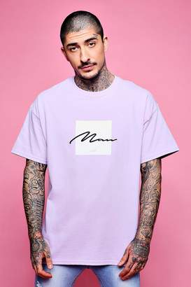 boohoo Oversized Box Print T-Shirt With MAN Embroidery