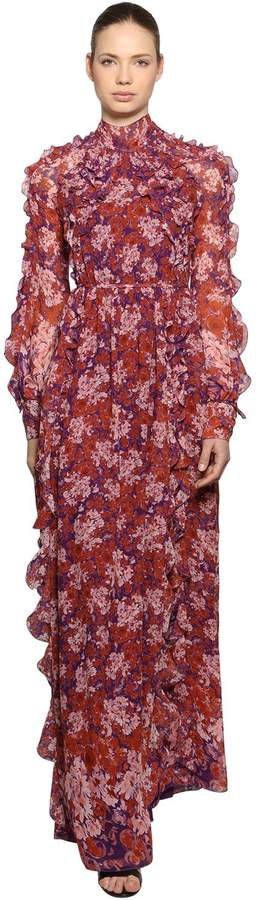 Floral Silk Chiffon Dress
