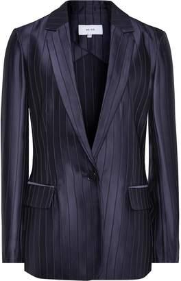 Reiss Lilea Jacket - Striped Blazer in Navy