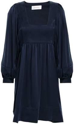 Zimmermann Tie-back Gathered Washed-silk Mini Dress