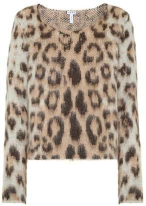 Loewe Leopard-print mohair-blend top