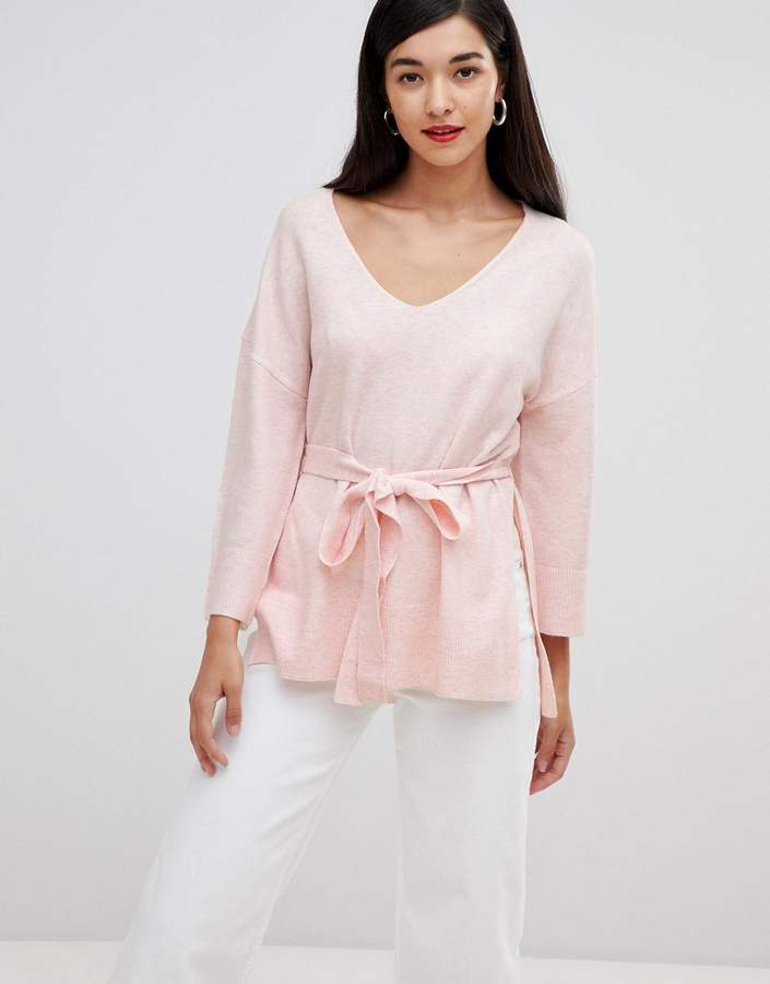 Rosa tie waist v-neck jumper