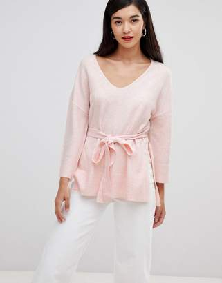 French Connection Rosa tie waist v-neck sweater