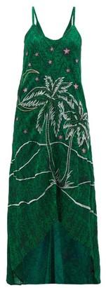 Chufy - Kaf Embroidered Abstract Print Crepe Dress - Womens - Green Print