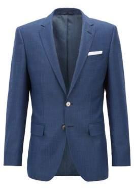 HUGO BOSS Slim-fit jacket in houndstooth virgin wool 40R Open Blue