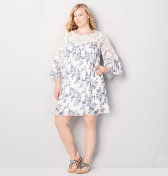 Avenue Blue Floral and Lace Babydoll Dress