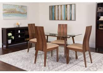 Flash Furniture Berkeley 5 Piece Walnut Wood Dining Table Set with Glass Top and Wide Slat Back Wood Dining Chairs - Padded Seats