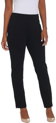 Susan Graver Ponte Knit Pull Pull-On Slim Leg Pants w/ Zipper Detail