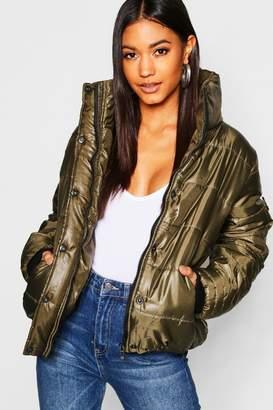 boohoo Funnel Puffer Jacket With Zips