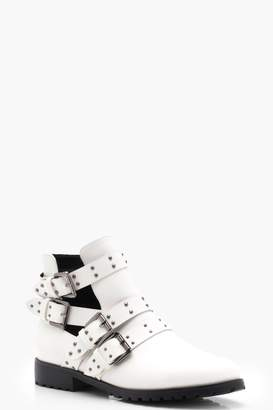 boohoo Kayla Studded Strap Cut Work Ankle Boots