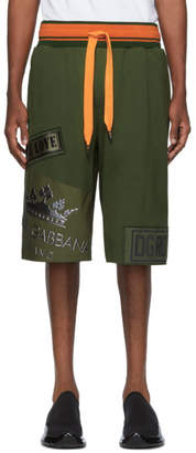 Dolce & Gabbana Khaki and Orange Choose Love Shorts