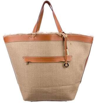 Loro Piana Leather-Trimmed Fleming Tote