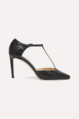 Jimmy Choo Lexica 85 Croc-effect Leather Pumps - Black