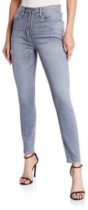 Alice + Olivia JEANS Good High-Rise Zip-Front Jeans