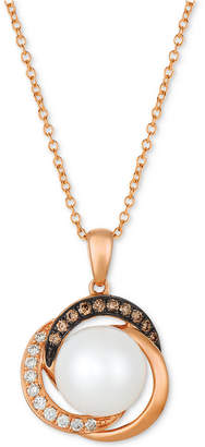 "LeVian Le Vian Cultured Freshwater Pearl (9mm) & Diamond (1/8 ct. t.w.) 18"" Pendant Necklace in 14k Rose Gold"