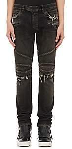 Balmain Men's Distressed Skinny Biker Jeans - Black