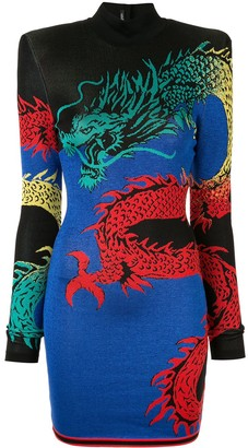 Balmain high-neck dragon print dress