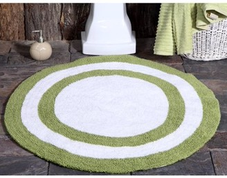 Saffron Fabs Bath Rug 100% Soft Cotton 36 Inch Round 200 GSF Two Tone Reversible Solid Color Textured Pattern