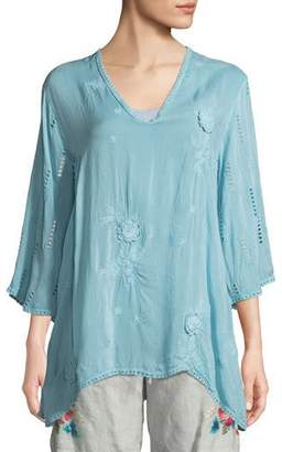 Johnny Was Chancy V-Neck Tunic w/Floral Embroidery, Plus Size