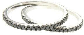 Sethi Couture Thin Black Diamond Band in White Gold