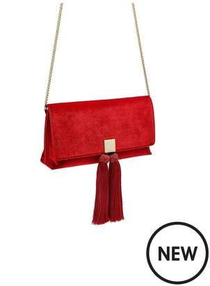 Ted Baker Karly Red Velvet Brocade Tassel Clutch Bag