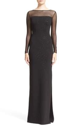 St. John Embellished Shimmer Milano Knit Gown