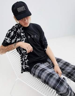 Obey records snapback cap in black
