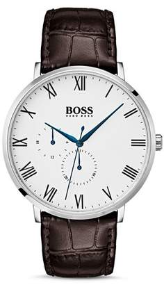 HUGO by Boss William Brown Croc-Embossed Leather Watch, 40mm
