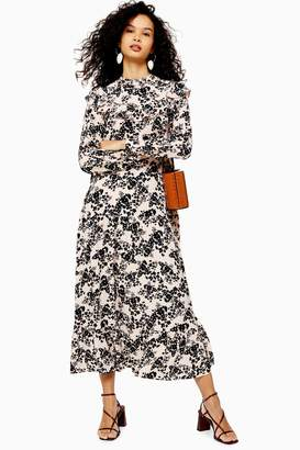Topshop Floral Print Pintuck Ruffle Maxi Dress