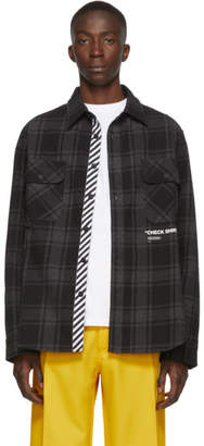 Off-White Off White SSENSE Exclusive Black Quote Flannel Shirt