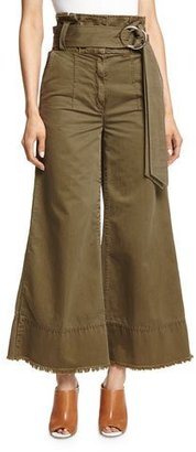cinq a sept Serge Belted Wide-Leg Cropped Trousers, Olive $365 thestylecure.com