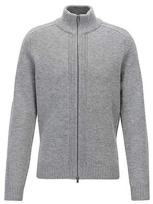 HUGO BOSS Stand-collar sweater in lambswool with two-way zip