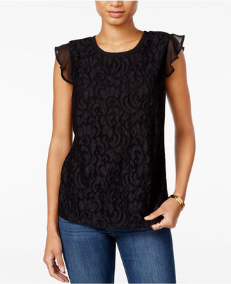 Maison Jules Flutter-Sleeve Crochet Lace Top, Only at Macy's $49.50 thestylecure.com