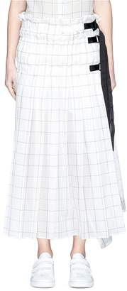 Sacai Belted ruched windowpane check wrap skirt
