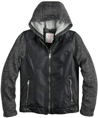 Moto So Girls 7-16 SO Faux-Leather Hooded Lightweight Jacket