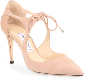 Jimmy Choo Vanessa 85 ballet pink suede pumps