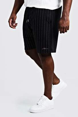 boohoo Big & Tall Stripe Shorts With MAN Signature