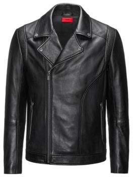HUGO BOSS Leather Moto Jacket Laston L Black