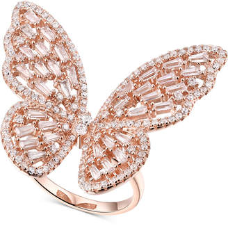Macy's Cubic Zirconia Butterfly Ring in 14k Rose Gold-Plated Sterling Silver