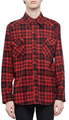 Saint Laurent Check Western-Style Flannel Shirt, Red $1,150 thestylecure.com