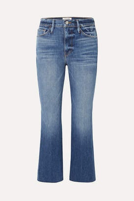 Frame Le Sylvie Cropped High-rise Flared Jeans - Dark denim