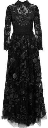 Valentino Crochet-paneled Leather-appliqued Lace Gown