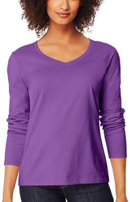 Hanes Women's Long Sleeve V-neck Tee