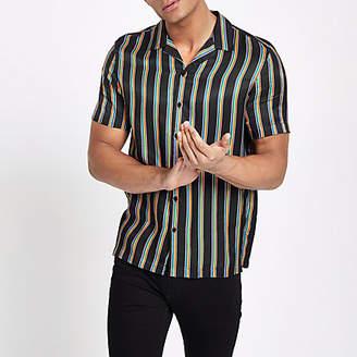 River Island Mens Black Pride rainbow print revere shirt