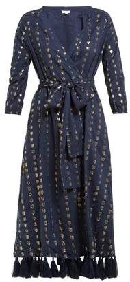 Rhode Resort Lena Heart Jacquard Cotton Blend Wrap Dress - Womens - Navy