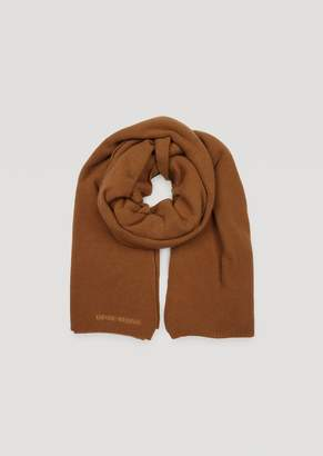 Emporio Armani Wool And Cashmere Scarf With Embroidered Logo