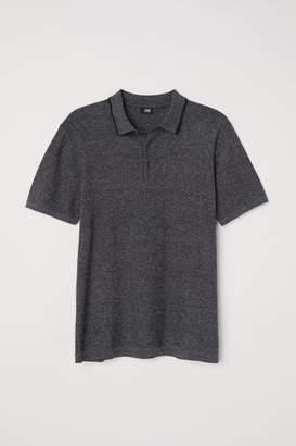 H&M Fine-knit polo shirt - Black