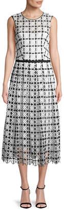 Carolina Herrera Geometric Lace Midi Dress