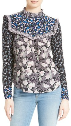 Women's Rebecca Taylor Mixed Print Silk Blouse $375 thestylecure.com